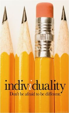 This poster design is using the image of all the same pencil with a different way pencil inside to represent the  visual language of the individuality.
