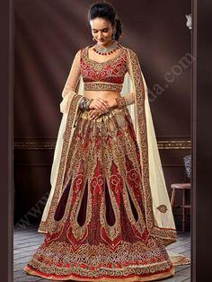Коричневый и кремовый индийский женский свадебный костюм — лехенга (ленга) чоли из фатина, украшенный вышивкой, вышивкой люрексом, скрученной шёлковой нитью со стразами, бусинками_St