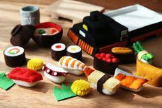 Felt food train sushi bento box sashimi japanese lunch