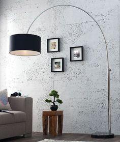 Design Bogenlampe LATE LOUNGE schwarz Leinen