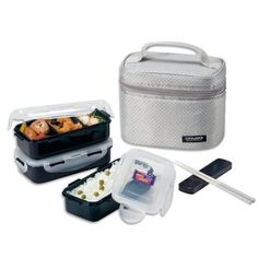 Lock & Lock Rectangular Gray Lunch Box Set with BPA Free Food Containers with Leak Proof Locking Lids, 1.4-Cup: Amazon.com: Kitchen & Dining