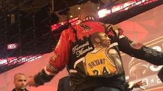 Drake is wearing a 'Farewell Mamba' jacket for Kobe...: Drake is wearing a 'Farewell Mamba' jacket for Kobe Bryant's final… #NBAAllStar