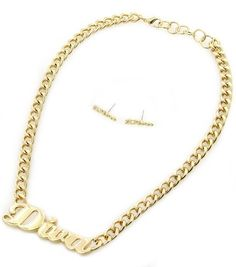"Trendy Style Gold ""Diva"" Short Necklace Statement Word Earrings Sexy Chain Set"