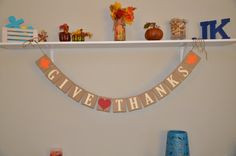 Give Thanks  Thanksgiving Banner by JKreations2013 on Etsy, $16.50