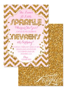 She Leaves A Little Sparkle - Birthday Invitation / Shimmer and Shine / Digital Faux Gold Glitter / Birthday Party Invitation / Child Party Ideas / Children Party Themes / Children Invites / Children Invitations / Kid Party Ideas / Kid Invitations