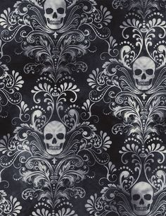 Skull Damask, Wicked C3759 Charcoal Halloween, Wicked 42-43 Wide Timeless Treasures Fabric