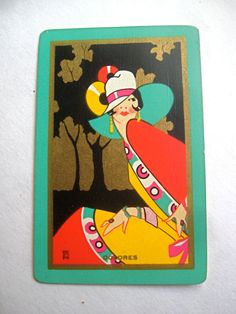 """US Named Art Deco Swap Playing Cards Usnn """"Dolores"""" Lady Mint Condition Illustrations Vintage, Art Deco Illustration, Motif Art Deco, Art Deco Design, Art Nouveau, Vintage Playing Cards, Vintage Cards, Art Deco Posters, Vintage Posters"""
