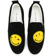 Joshua Sanders Smile slip on sneakers ($357) ❤ liked on Polyvore featuring shoes, sneakers, black shoes, slip on sneakers, leather shoes, black leather trainers and slip on trainers