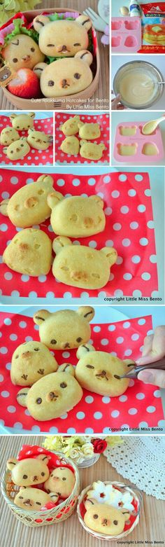 Bear, bread, cute, bento, boxed lunch; Anime Food