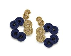 Chandelier crystal earrings, Gold navy statement earrings, Gold Swarovski earrings, Crystal fancy earrings, Large navy earrings, Soutache
