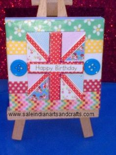 Happy Birthday paper art on mini canvas by PapersArt on Etsy, £5.00