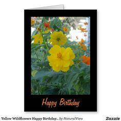 Yellow Wildflowers Happy Birthday Card