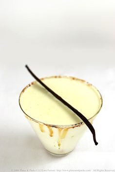 Creme Brulee Martini -- 1 cup heavy cream / 1 vanilla bean / 1 T casters sugar / 1 part vanilla vodka / 1 part Frangelico // Heat the cream, vanilla bean and sugar over medium high heat until it just begins to boil, stirring continuously. Remove from heat and add the vodka and Frangelico. Allow to cool slightly. Shake with ice and strain into your glass.