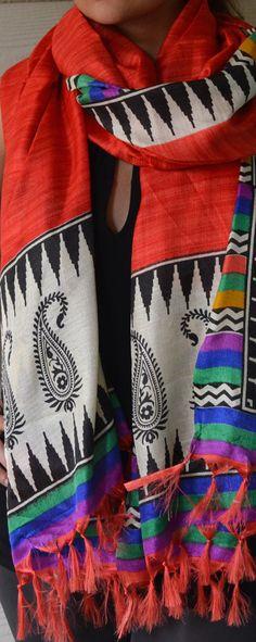 Coral Silk Hand Printed Stole Bright scarf Boho by HoityToityDiva