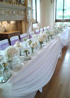 Top Table Swag, Heavy White Chiffon - event decoration hire