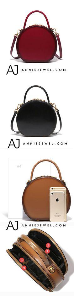 0cd9ee314046 Genuine Leather Handbag Round Circle Bag Crossbody Shoulder Bag Purse  Clutch For Women