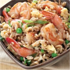 Shrimp Fried Rice  2 Eggs, 1lb of shrimp, 3 tablespoons soy sauce, 3 tablespoons oyster sauce, and 2 minced garlic cloves,  stir in 1 cup thawed frozen peas, 5 thinly sliced scallions