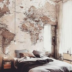 For all the travel junkies! This wonderful map wallpaper encompasses beautiful muted tones, making it incredibly versatile for any room in your home. Home Bedroom, Bedroom Decor, Bedroom Ideas, Dream Bedroom, World Map Bedroom, Bedroom Styles, Design Bedroom, Dream Rooms, Master Bedroom