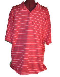 NIKE GOLF Pink Polo Shirt Extra Large Mens Striped Top Active  #nike #nikegolf #pinkshirt