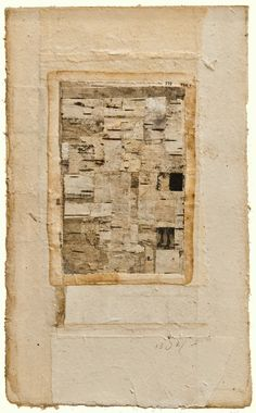 Robert Ohnigian | Portrait #5 |  Antique paper with engraving and birch bark on watercolor paper.