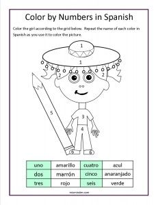 Free color by numbers in Spanish worksheet:  To teach and reinforce the names of numbers and colors in Spanish.