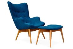 One Kings Lane - Alpine Chic - Jonis Chair and Ottoman, Blue