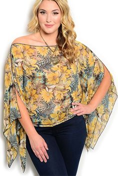 Plus Size Boho Chic Off Shoulder Floral Top
