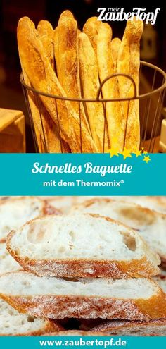 Schnelles Baguette – Rezept für den Thermomix® Quick baguette with the Thermomix®. The perfect baguette is made in no time with the etc. It is super simple, requires very few ingredients and tastes incredibly good. Burger Buns, Naan, Baking Ingredients, Bread Baking, Quick Meals, Healthy Meals, Healthy Food, Baby Food Recipes, Baguette