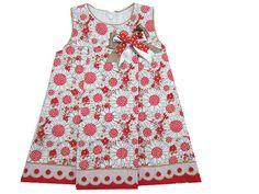 Vestido para niña de piqué estampado en tonos blancos, beige y rojo - Vestidos para Bebé y Niña hasta los 4 Años - Mundo Kiriko #niña #piqué #verano