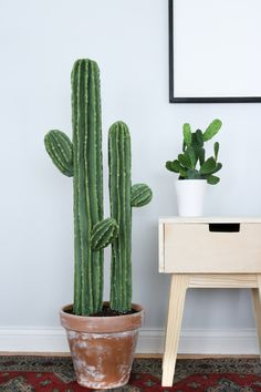 Cute Cactus Decor Last Friday was the first day of this Cactus DIY journey. Where do I even begin& This cute cactus definitely took me for a spin. Jumping into this DIY I knew it would be a hard one since I've nev Decoration Cactus, Decoration Plante, Cactus Centerpiece, Fake Plants, Indoor Plants, Indoor Garden, Cactus House Plants, Types Of Cactus Plants, Cacti Garden
