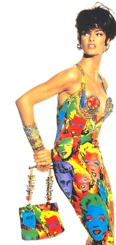"§Linda Evangelista in the Andy Warhol inspired ""Marilyn"" dress by Gianni Versace, photographed by Irving Penn, 1991."