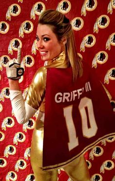 Redskins Cheerleader Halloween Costume Cheerleader Halloween Costume, Halloween Costumes, Redskins Cheerleaders, Red Leather, Leather Jacket, Pulp Art, Cheerleading, Sport, Lady