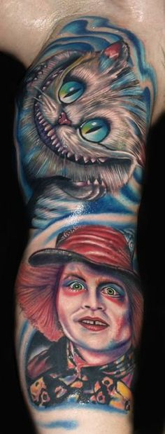 Amazing Alice in Wonderland cheshire cat tattoo