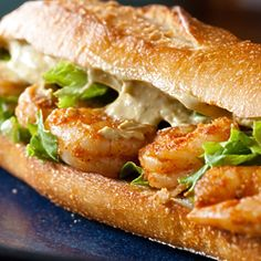 Recipe, grocery list, and nutrition info for Spicy Shrimp Sandwich w/ Chipotle Avocado Mayo. Spicy shrimp sandwich with a spread so good you could eat it by the spoonful. Shrimp Sandwich, Sandwich Bar, Soup And Sandwich, Salad Sandwich, Chicken Sandwich, Gourmet Sandwiches, Sandwich Ideas, Steak Sandwich Recipes, Shrimp Burger