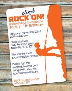 Rock Climbing  Rock On  Birthday Invitation by swankypress on Etsy, $30.00