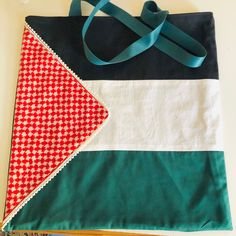 Palestinian Flag totebag fully lined Palestine Flag, Little Swimmers, Vintage Children's Books, Childrens Books, Handmade Items, Scarves, Tote Bag, Fabric, Cotton