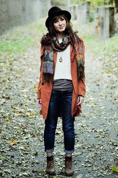 Bronze-boots-tawny-chicwish-coat-black-h-m-hat. I like the idea, not sure about the execution.