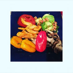 Sautéed mushrooms in olive oil, roasted peppers, baked fries with guac