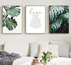 Bedroom Pictures Above Bed, Living Room Pictures, Canvas Wall Decor, Canvas Art, Palm Plant, Wall Art Quotes, Quote Wall, Nordic Art, Leaf Wall Art