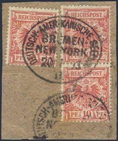 """German Colonies, Deutsche Seepost 1893, """"DEUTSCH-AMERIKANISCHE SEEPOST/BREMEN-New-York/20.1.93"""" auf 10 Pfg. (Paar und Einzelstück) auf Briefstück (Bfst., Mi.-Nr.47). Price Estimate (8/2016): 25 EUR."""