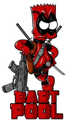 Bartpool, The Simpsons Deadpool Pikachu, Deadpool Art, Deadpool Funny, Simpson Wallpaper Iphone, Funny Phone Wallpaper, Cartoon Wallpaper, Simpsons Drawings, Simpsons Art, Deadpool Wallpaper