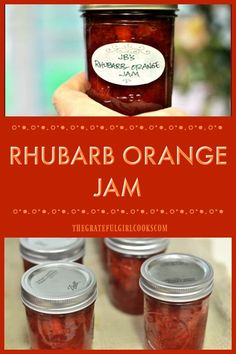 Sweet and just a little tart, this Rhubarb-Orange Jam is a perfect combo to enjoy on toast or muffins! Canning instructions included with recipe. / The Grateful Girl Cooks! Rhubarb Orange Jam, Rhubarb Marmalade, Rhubarb Jelly, Rhubarb Syrup, Orange Jam Recipes, Rhubarb Jam Recipes Canning, Pickled Rhubarb, Fruit Preserves, Girl Cooking