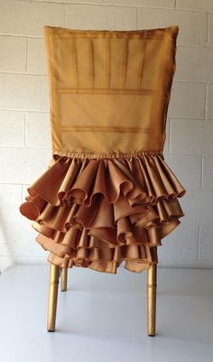 Custom Designed Ruffled Chair Covers for Chiavari Chair.  #ruffles #chiavarichairs #gold #chair #flowing #wedding #event #special #linens #custom