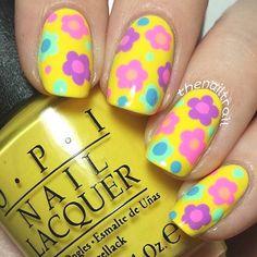 Retro, Yellow Flower Nail Design