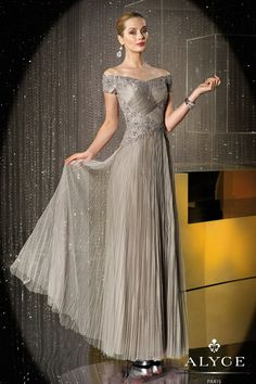 Evening Dresses<BR>Mother of the Bride Dresses by Jean De Lys for Alyce<BR>29689<BR>Off the shoulder short sleeve long dress sheer pleated layered tulle skirt