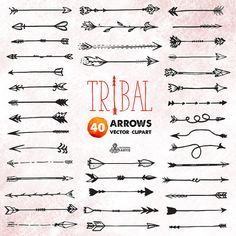 Tribal Arrows Clipart: 40 vector digital files. by OctopusArtis