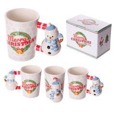 Fun Christmas Ceramic Mug with Snowman Shaped Handle