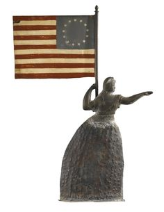RARE MOLDED COPPER LIBERTY WEATHERVANE, ATTRIBUTED TO CUSHING AND WHITE, MASSACHUSETTS, CIRCA 1865