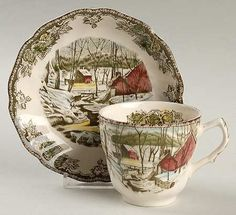 "Johnson Brothers Friendly Village,The (""Made in England"" Backstamp) Flat Cup & Saucer Set Johnson Brothers China, Johnson Bros, Best Friend Gifts, Gifts For Friends, Friendly Village Dishes, The Make, How To Make, Gifts For Brother, Cup And Saucer Set"