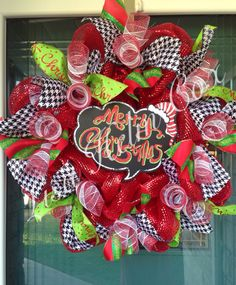 "Whimsical deco mesh wreath with house tooth accents ""Merry Christmas"""
